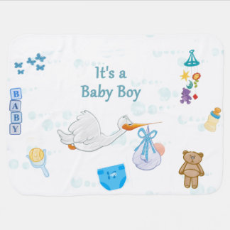 Cobertor Para Bebe É um menino - chá de fraldas personalizado