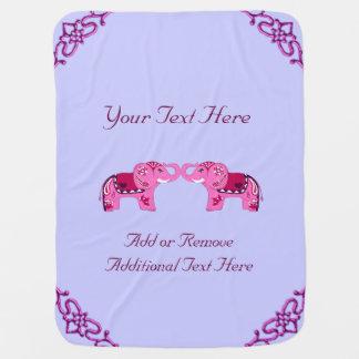 Cobertor Para Bebe Elefante do Henna (rosa/roxo)