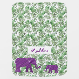 Cobertor Para Bebe Elefantes e selva roxos das folhas de palmeira