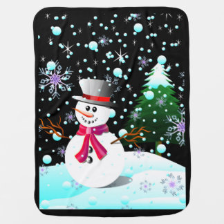 Cobertor Para Bebe Feliz Natal do boneco de neve
