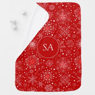Cobertor Para Bebe Flocos de neve bonitos no Natal vermelho do fundo