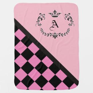 Cobertor Para Bebe Flourish cor-de-rosa personalizado da coroa do