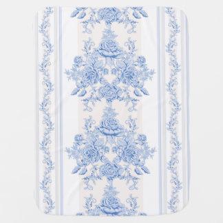 Cobertor Para Bebe Francês, chique, vintage, azul pálido, branco,