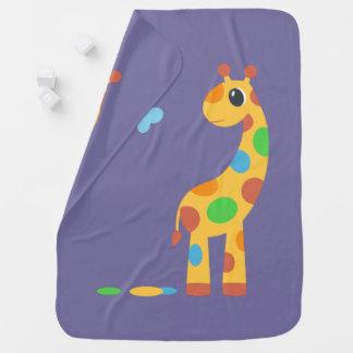 Cobertor Para Bebe Girafa colorido dos desenhos animados no roxo