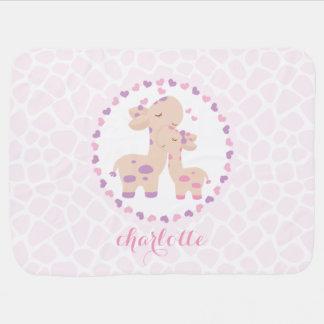 Cobertor Para Bebe Girafa cor-de-rosa doce do bebé personalizado