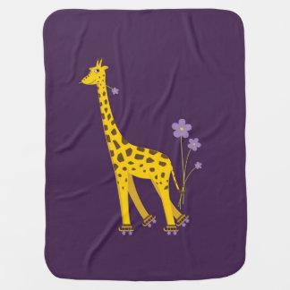Cobertor Para Bebe Girafa engraçado roxo dos desenhos animados da