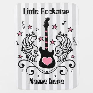 Cobertor Para Bebe Guitarra cor-de-rosa da estrela do balancim com as