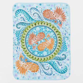Cobertor Para Bebe Harmonia dos mares, boho, hippie, boémio