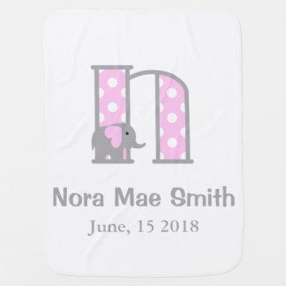 Cobertor Para Bebe Letra N da cobertura das bolinhas do rosa do