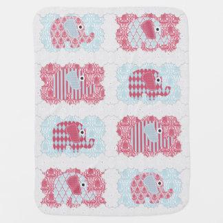 Cobertor Para Bebe Listras do damasco dos elefantes do berçário do