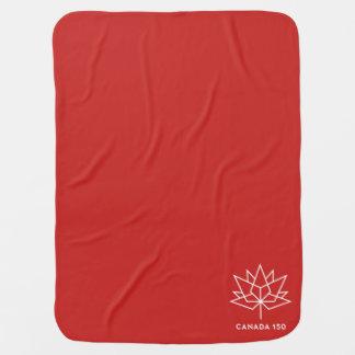 Cobertor Para Bebe Logotipo do oficial de Canadá 150 - vermelho e