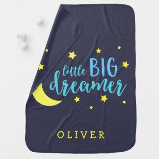 Cobertor Para Bebe Lua e sonhador grande pequeno azul das estrelas