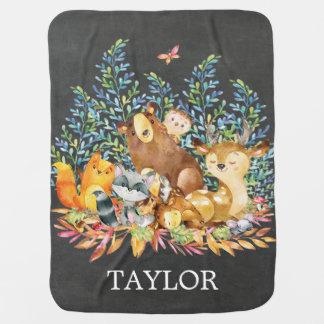 Cobertor Para Bebe Menina personalizada do menino da floresta que