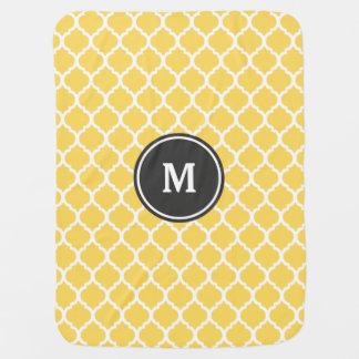 Cobertor Para Bebe Monograma amarelo de Quatrefoil
