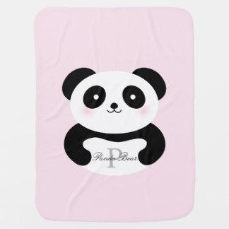 Cobertor Para Bebe Monograma feminino bonito do urso de panda do bebé