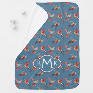 Cobertor Para Bebe Monograma retro do teste padrão   do colibri