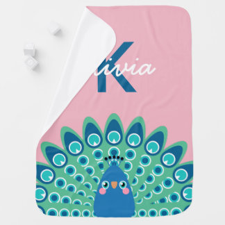 Cobertor Para Bebe Monogrammed cor-de-rosa bonito do pavão |