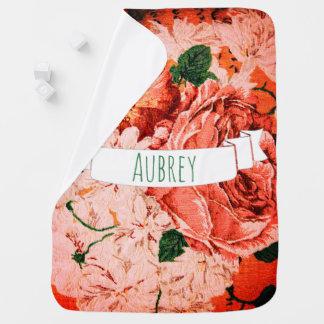 Cobertor Para Bebe Nome cor-de-rosa bonito das flores & do bebê do