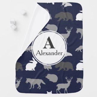 Cobertor Para Bebe O animal moderno da floresta mostra em silhueta o