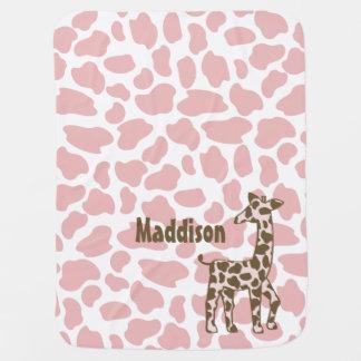 Cobertor Para Bebe O girafa mancha o rosa e o Brown