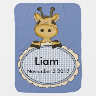 Cobertor Para Bebe O girafa personalizado de Liam