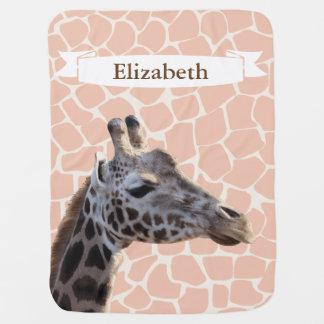 Cobertor Para Bebe O nome realístico do bebê do girafa & do impressão