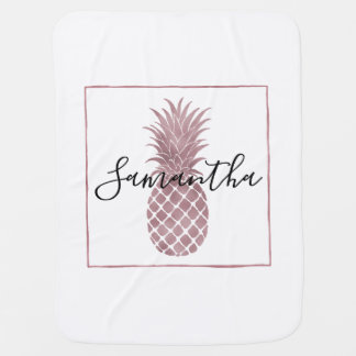 Cobertor Para Bebe O ouro cor-de-rosa pontilha abacaxis