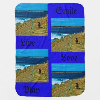 Cobertor Para Bebe O ursinho roubado, mosaico azul