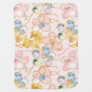 Cobertor Para Bebe Ouro floral feminino do rosa do unicórnio