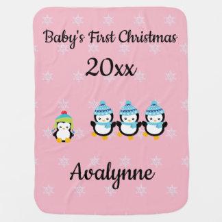 Cobertor Para Bebe Pinguins do Natal do bebê primeiros