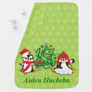 Cobertor Para Bebe Pinguins personalizados bonitos do feriado