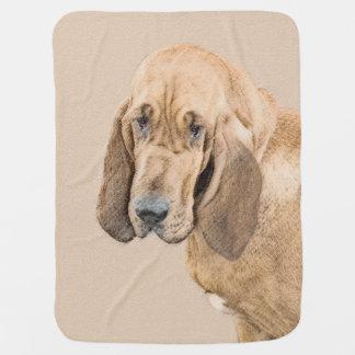 Cobertor Para Bebe Pintura do Bloodhound - arte original bonito do