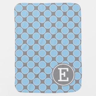 Cobertor Para Bebe Pontos azuis da casa de campo no monograma do