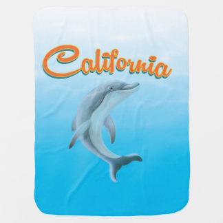Cobertor Para Bebe Poster de viagens do golfinho de Califórnia do