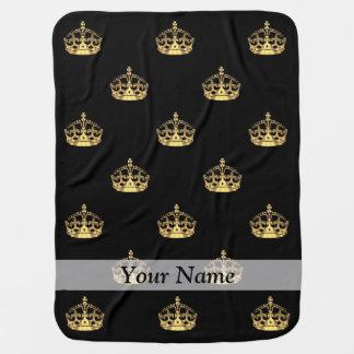 Cobertor Para Bebe Preto e teste padrão da coroa do ouro