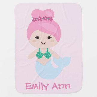 Cobertor Para Bebe Rosa adorável da cobertura do nome da sereia