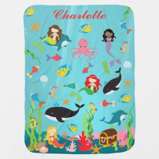 Cobertor Para Bebe Sereias bonitas & nome do costume da vida marinha