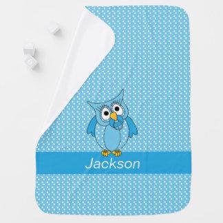 Cobertor Para Bebe Teste padrão de bolinhas azul e branco com uma