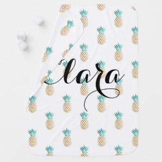 Cobertor Para Bebe teste padrão fresco tropical do abacaxi do ouro do