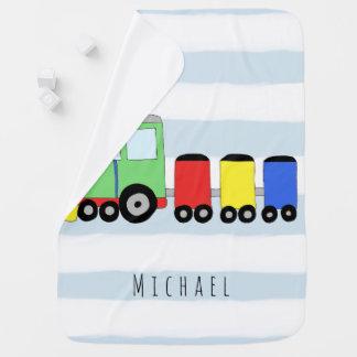 Cobertor Para Bebe Trem colorido personalizado do bebé com nome
