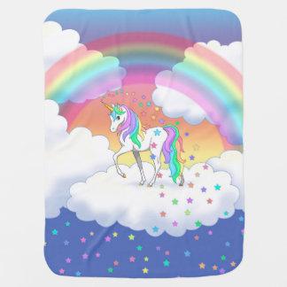 Cobertor Para Bebe Unicórnio e estrelas coloridos do arco-íris