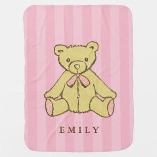 Cobertor Para Bebe Urso cor-de-rosa da menina personalizado
