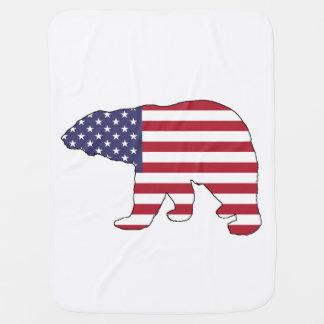 """Cobertor Para Bebe Urso polar """"bandeira americana """""""