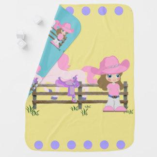 Cobertor Para Bebe Vaqueira pequena com cerca e sela do cavalo