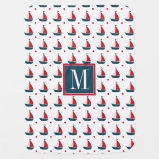 Cobertor Para Bebe Veleiros & bolinhas azuis brancos | vermelhos