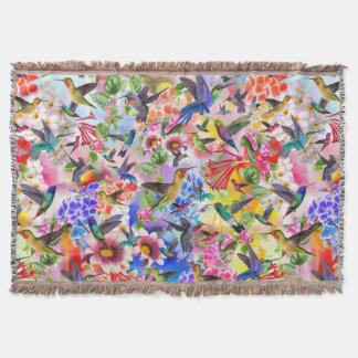 Cobertor Pássaros e flores do zumbido