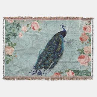Cobertor Pavão do vintage e ilustração dos rosas