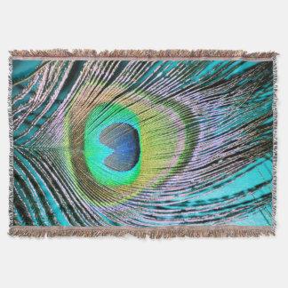 Cobertor Penas do pavão na turquesa