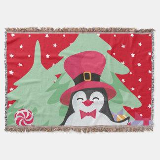 Cobertor Pinguim festivo com trenó - vermelho