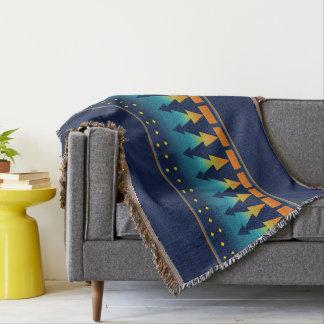 Cobertor Pinhos do por do sol do sudoeste azuis